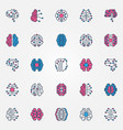 digital brain colored icons set - ai smart vector image