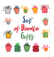 doodle set of presents ribbons stars vector image