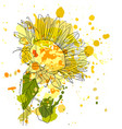 drawing sunflower vector image