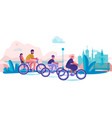 family riding bicycles in park parents and vector image vector image