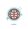 Flat lined internet icon WWW vector image vector image