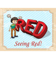 Fuming man seeing red vector image