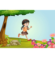 girl running in a beautiful nature vector image