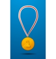 Gold medal for first place with tape icon vector image vector image