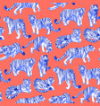 graphic seamless pattern tigers in different vector image vector image