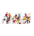 group of students or pupils sitting at desks in vector image vector image