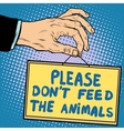 Hand sign please dont feed the animals vector image vector image