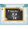 happy new year lettering on blackboard vector image