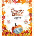 happy thanksgiving flyer with colorful leaves vector image vector image