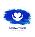insurance care icon - blue watercolor background vector image