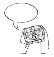 locked treasure pirate chest cartoon character vector image vector image