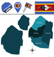 map of swaziland with named regions vector image vector image