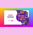 music festival neon landing page vector image vector image