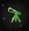 neon telescope icon in thin line style vector image