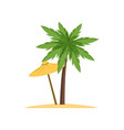 palm tree and beach umbrella vector image