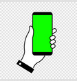 phone with green screen chroma key background vector image vector image