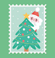 santa and decorative tree star balls merry vector image vector image