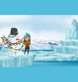 scene with snowman and little girl vector image