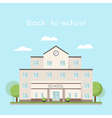 school building clouds and trees vector image vector image