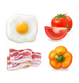 scrambled eggs bacon tomato pepper vector image vector image