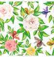 seamless floral pattern white background vector image vector image