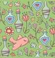 seamless pattern potions birds flowers green vector image vector image