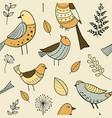 seamless pattern with cute hand drawn doodle birds vector image vector image