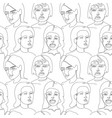 seamless pattern with woman faces one line art vector image vector image