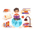 set of book lovers elements on white background vector image