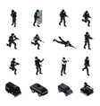 special weapons unit isometric icons collection vector image vector image