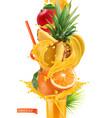 splash juice and sweet tropical fruits mango vector image vector image