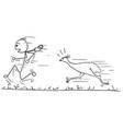 stickman cartoon of men running away followed by vector image