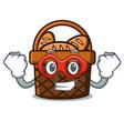 super hero bread basket character cartoon vector image