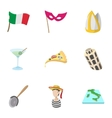 Trip to Italy icons set cartoon style vector image vector image