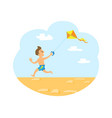 wind kite and small kid running on beach vector image vector image