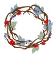 wreath with grey leaves vector image vector image