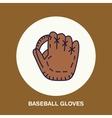 Baseball softball line icon Gloves logo vector image