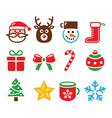 Christmas colorful icons set - Santa present vector image