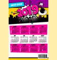 2019 retro super hero calendar pop art vector image vector image