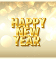 3d style happy new year lettering in golden style
