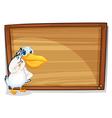 A bird beside a wooden board vector image vector image
