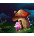 An injured pink monster near the mushroom house vector image vector image