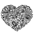 beautiful silhouette heart lace flowers vector image