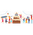 birthday cake concept happy party team greeting vector image vector image