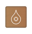 blood donation icon on wooden blocks isolated on a vector image