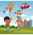 boy with kite cartoon vector image