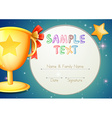Certification template with stars and trophy vector image vector image