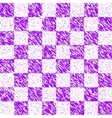 checkered lilac grunge background vector image vector image