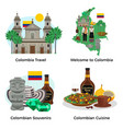 colombia tourism concept icons set vector image vector image