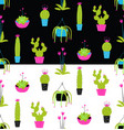 colorful potted cactus seamless pattern on black vector image vector image